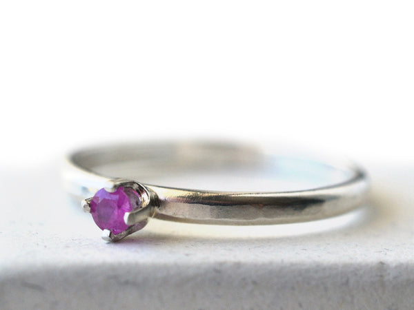 Handmade Sterling Silver & 3mm Ruby Engagement Ring