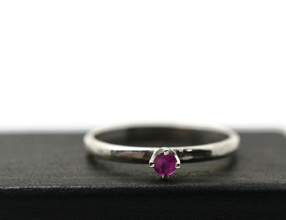 Handmade Sterling Silver Natural Ruby Engagement Ring