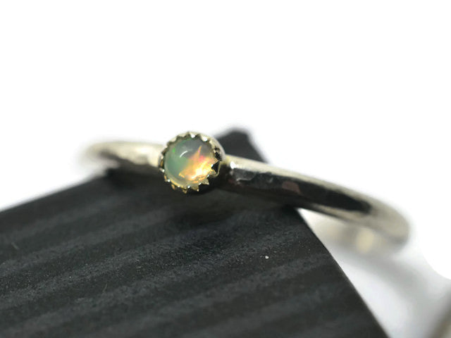 Dainty Welo Opal Stacking Ring
