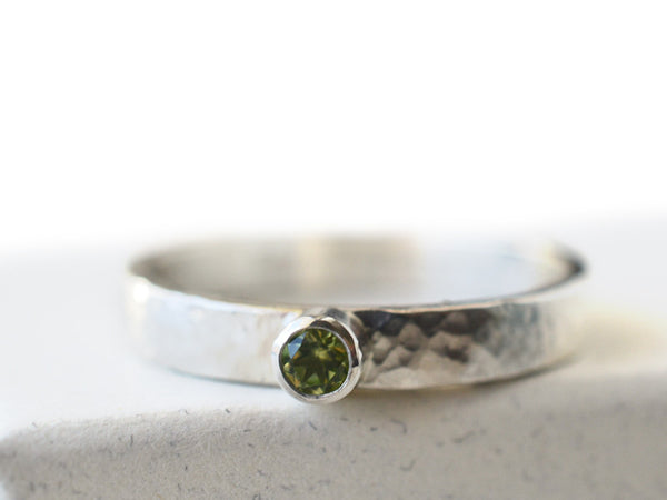 Tube Set Tiny Peridot Promise Ring in Sterling Silver