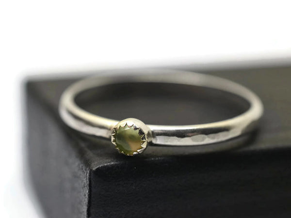 Handmade Silver & Light Green Gemstone Ring