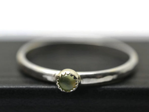 Tiny Prehnite Gemstone Stack Ring