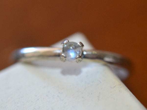 Handmade Sterling Silver & Rainbow Moonstone Cabochon Ring