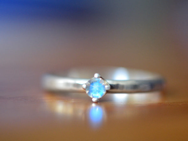 Simple Sterling Silver & Rainbow Moonstone Engagement Ring