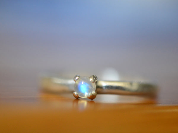 Handmade Dainty Sterling Silver Rainbow Moonstone Ring