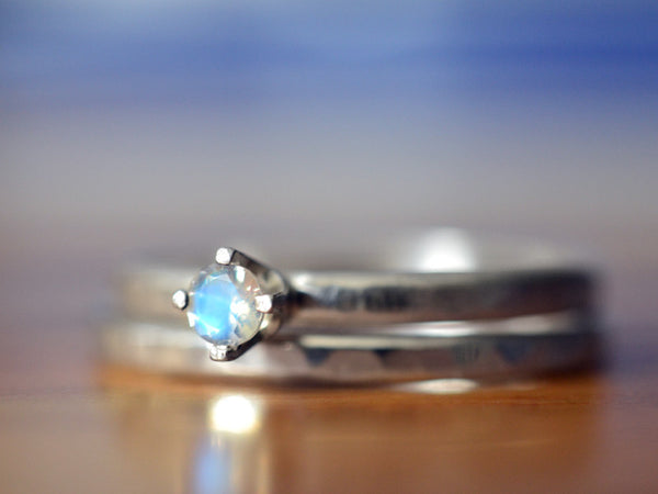 Simple Rainbow Moonstone Wedding Ring Set in Silver