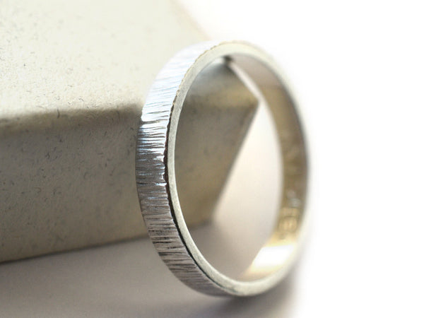 Handmade 3mm Wide Sterling Silver Tree Bark Ring