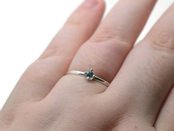Tiny 3mm Sky Blue Topaz Engagement Ring