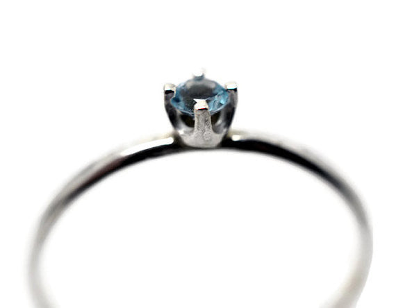 Artisan Made Dainty Sky Blue Topaz Ring