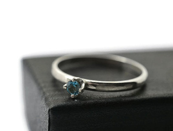 Handmade 3mm Sky Blue Topaz Ring