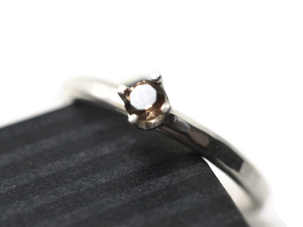 Simple Silver 3mm Smoky Quartz Ring