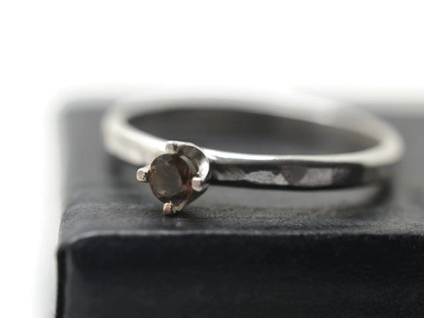 Handmade Sterling Silver Claw Set Smoky Quartz Ring