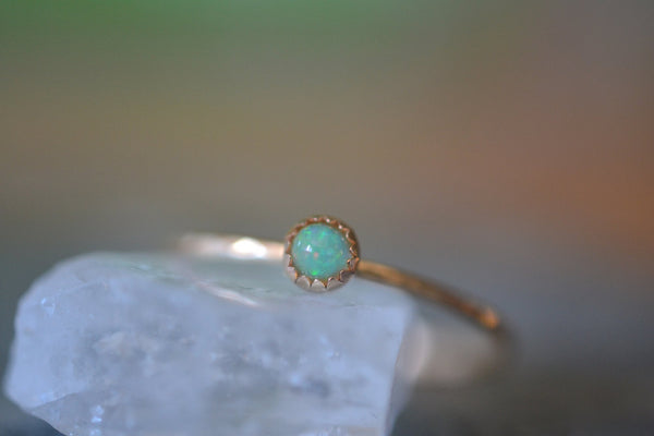Ultra Thin Micro 1mm 14K Yellow Gold Ring With Welo Opal