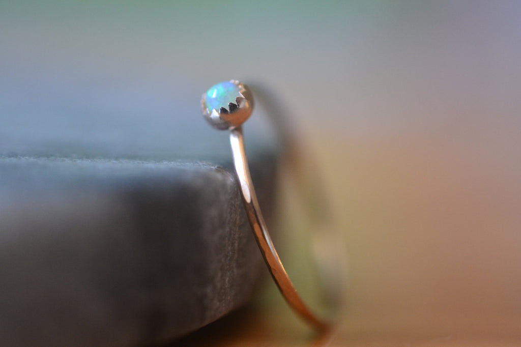 Dainty 3mm Welo Opal Bezel Ring in 14K Yellow Gold