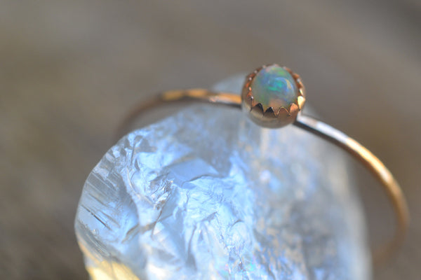 Dainty Ethiopian Opal Stacking Ring in 14K Yellow Gold