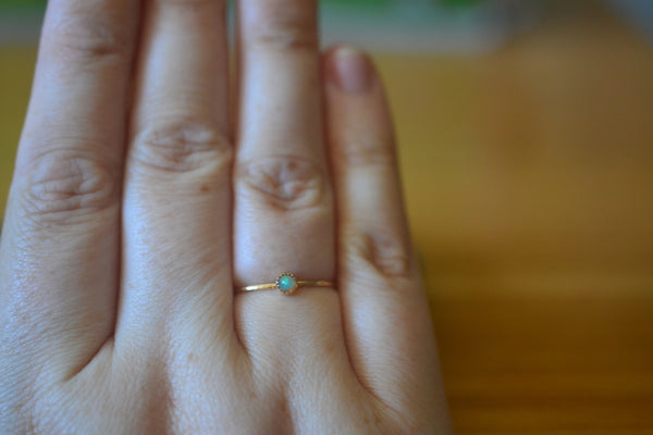 Tiny Ethiopian Welo Opal Ring in 14K Yellow Gold