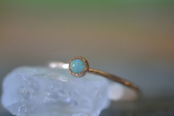 Ultra Thin 14K Gold Thread Ring With Welo Opal Cabochon