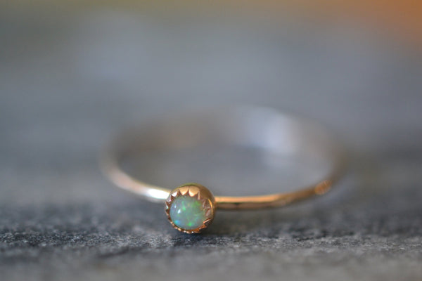 Micro Thin 14K Gold Welo Opal Stack Ring