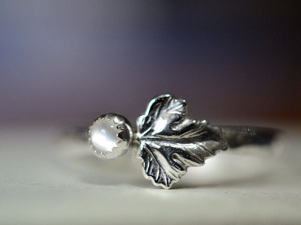 Handmade Sterling Silver Leaf & 3mm White Moonstone Ring