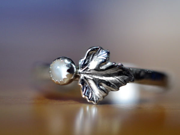 Handmade Sterling Silver Leaf & 3mm White Moonstone Ring,