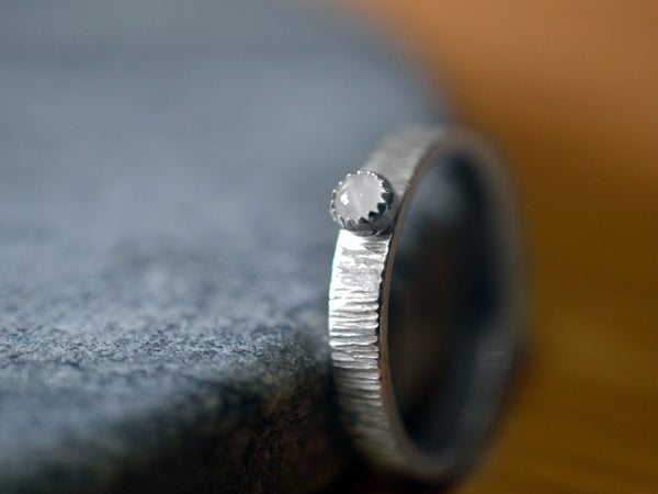 Simple White Moonstone Promise Ring with Tree Bark Finish
