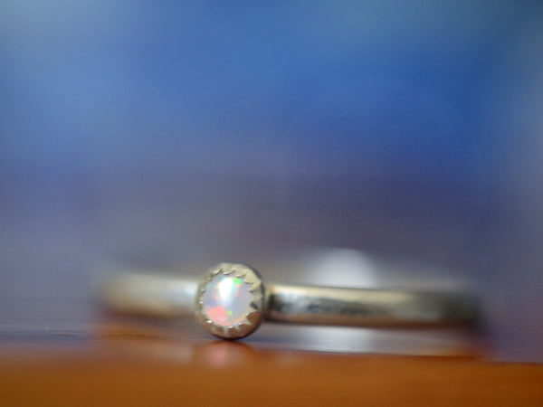 Dainty Sterling Silver & Tiny White Opal Stack Ring