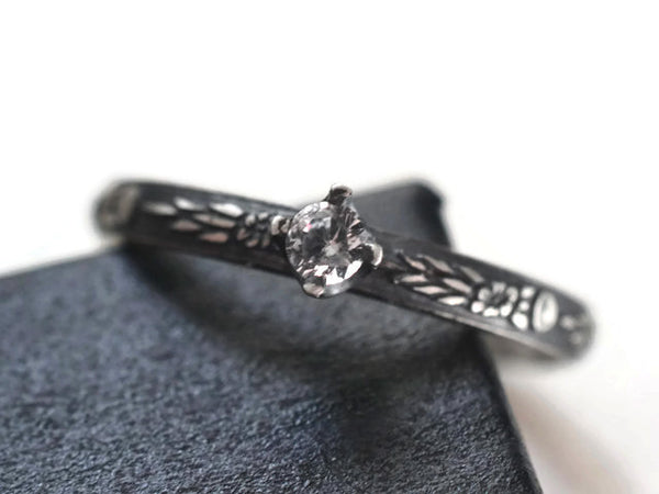 White Sapphire Promise Ring with Oxidized Floral Silver Band