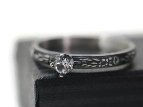 Handforged Dainty Floral Silver 3mm White Sapphire Engagement Ring