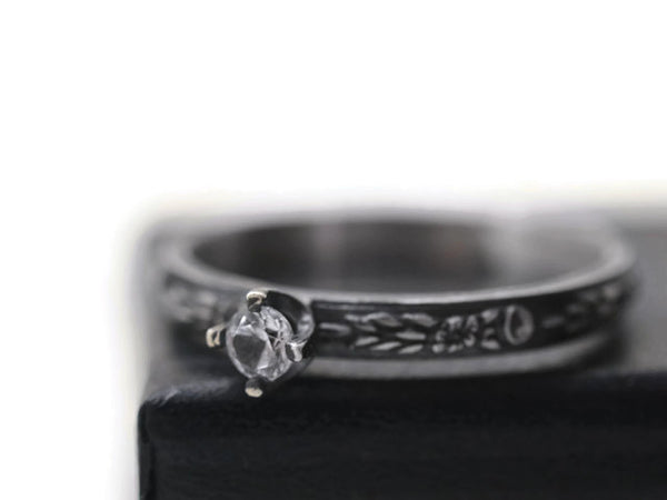 Handmade Oxidized Floral Silver Tiny White Sapphire Engagement Ring