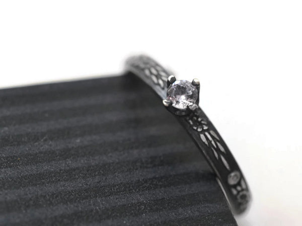 Handmade Oxidized Patterned Silver & White Sapphire Engagement Ring