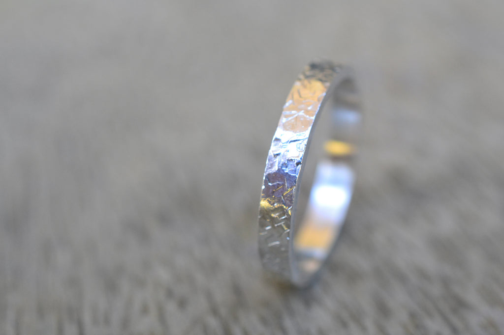 3mm Sterling Silver Band with Concrete Texture