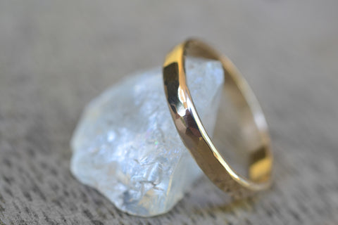 Solid Gold Wedding Band With Hammered Finish