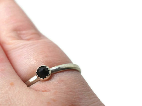 4mm Rose Cut Black Spinel Promise Ring