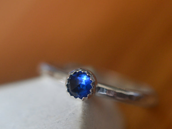 Simple Sterling Silver & 4mm Blue Sapphire Stack Ring