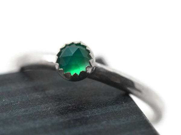 Rose Cut Green Onyx Promise Ring