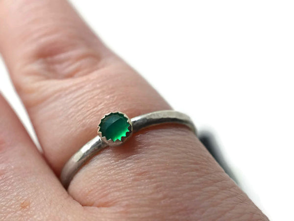 Handmade Sterling Silver & 4mm Green Onyx Stacking Ring