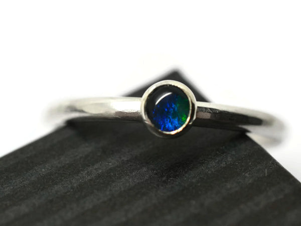 Handmade Sterling Silver 4mm Blue Opal Engagement Ring