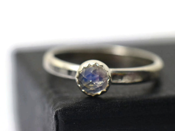 4mm Rose Cut Blue Moonstone Ring