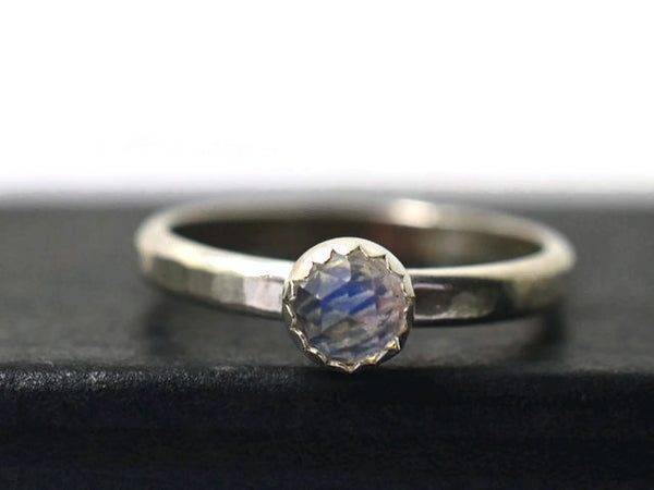 Handmade 4mm Rose Cut Blue Moonstone Ring