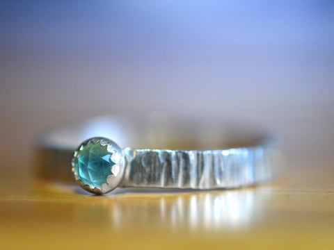 Rustic Silver Tree Bark & 4mm Blue Opal Engagement Ring