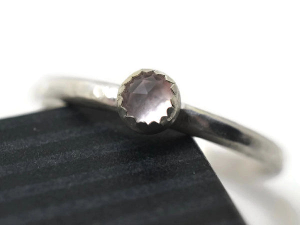 Simple 4mm Rose Quartz Promise Ring
