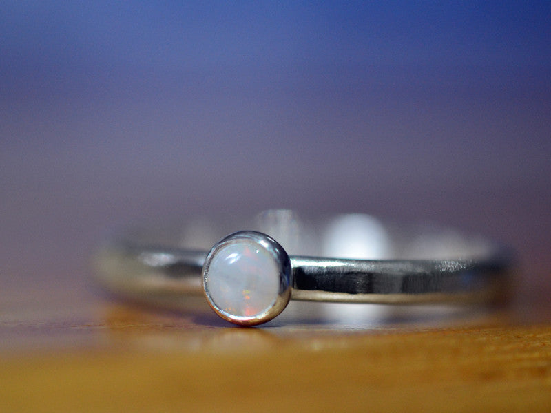 Handmade Sterling Silver Dainty 4mm White Opal Ring