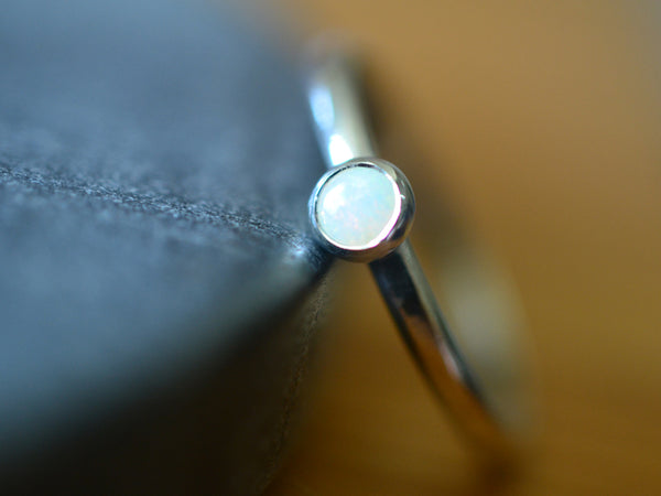 Women's Dainty 4mm White Opal Stack Ring in Silver