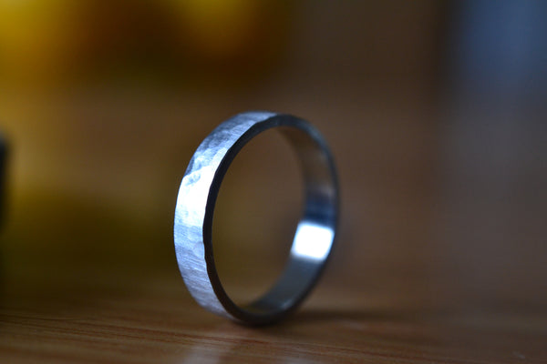 Engravable Matte Satin Eco Friendly 14ct White Gold Band For Men