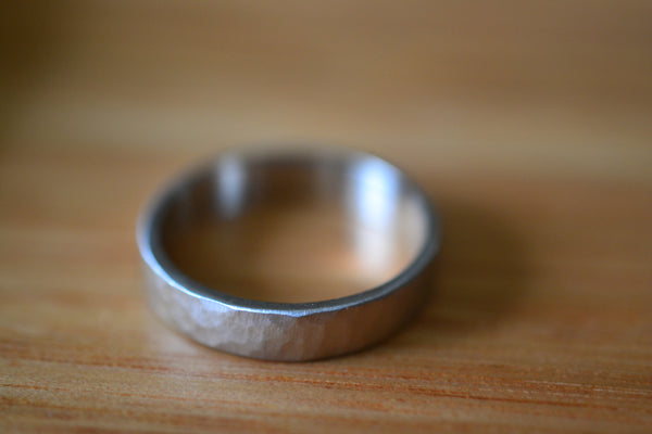 Ethical Recycled 14K White Gold Ring With Matte Satin Finish