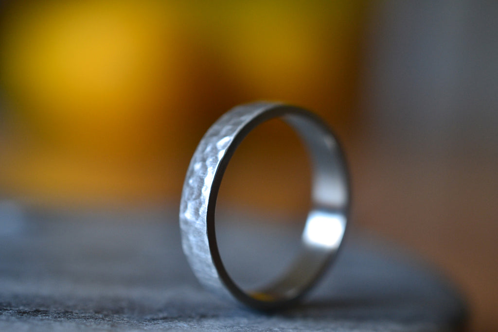 Matte Satin 14K White Gold Wedding Ring With Hammered Finish