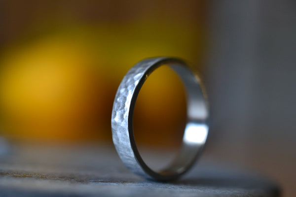 Custom Engraved Male Marriage Band in 14K White Gold
