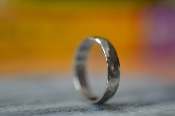 Handforged 14K White Gold Wedding Ring With Engraved Inside