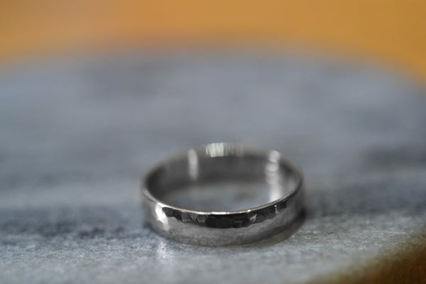 Personalised Half Round 14K White Gold Wedding Ring for Men