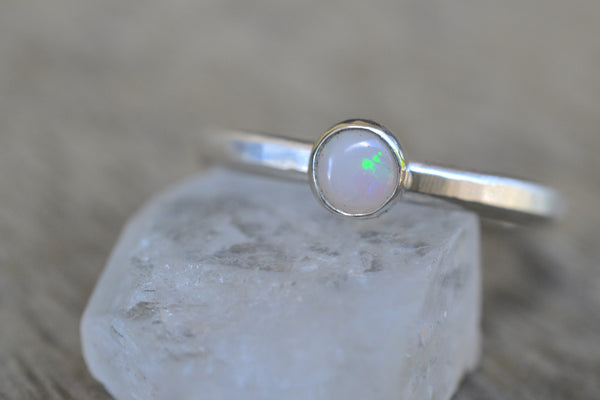 4mm Coober Pedy Opal Ring in Sterling Silver